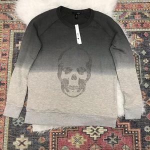 Heather Grey Ombré Sweatshirt with Jeweled Skull,M